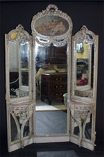French Louis XVI Style Tri Fold Full Length Mirror