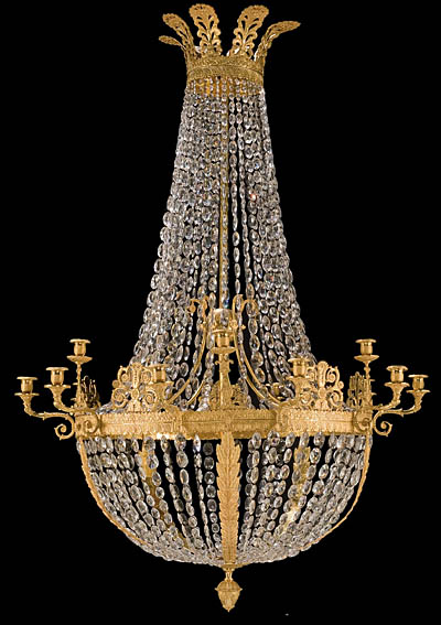 Fine French Empire Style Bronze D Ore And Crystal Chandelier