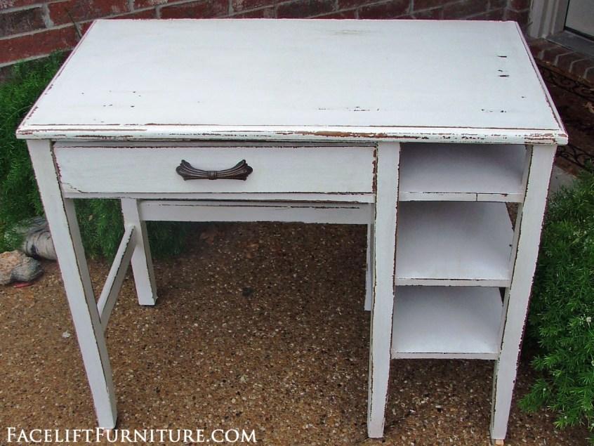 Chippy Antiqued White Desk