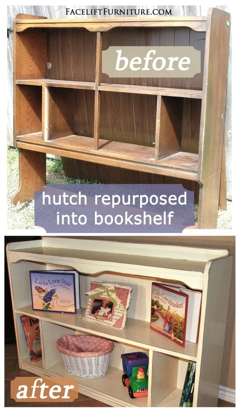Hutch Repurposed Into Bookshelf - Before & After