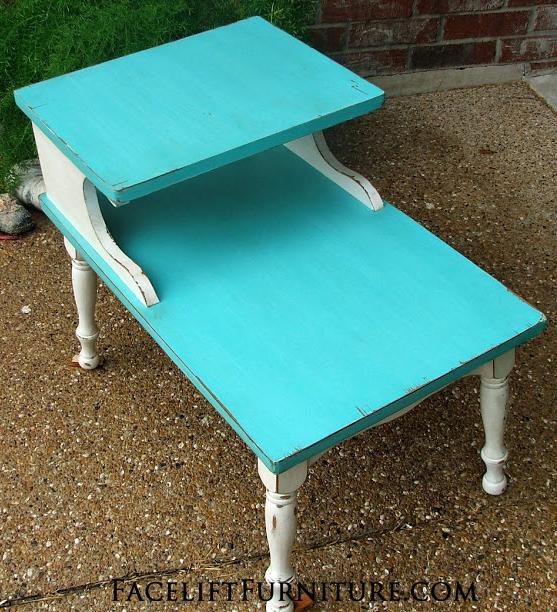Turqouise & White End Table top