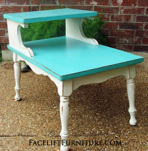 Turquoise U0026 Antiqued White End Table