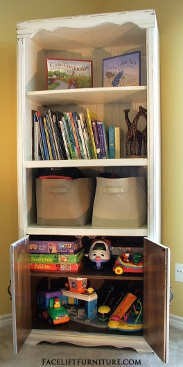 Entertainment Center Repurposed into Toy Storage Cabinet