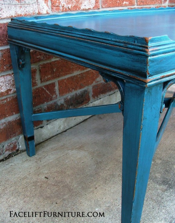 Antique Peacock Blue Coffee Table. From Facelift Furniture DIY Blog.