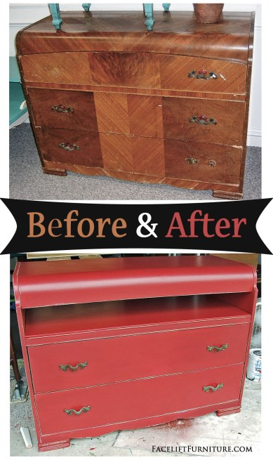 Waterfall dresser repurposed into a media console. From Facelift Furniture's DIY blog.