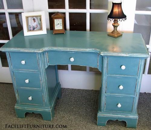 Chippy Distressed Sea Blue Vanity Desk.  Facelift Furniture DIY Blog
