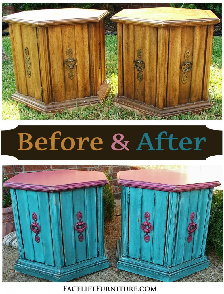 Hexagon End Tables Refinished In Turquoise U0026 Pink