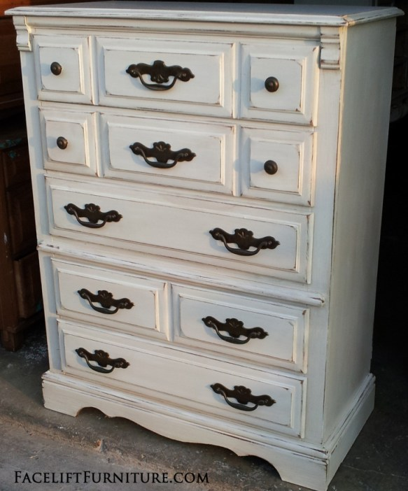 What I like most about Antiqued White. From the Facelift Furniture DIY Blog.