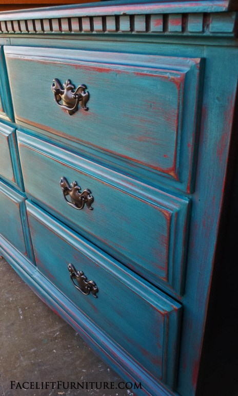 Peacock Blue over Red Dresser