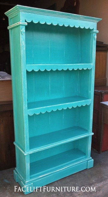 cottage bookcase aqua blue small turquoise distressed shelf bookshelf