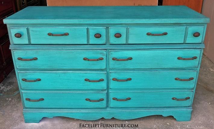 Rustic Turquoise Dresser