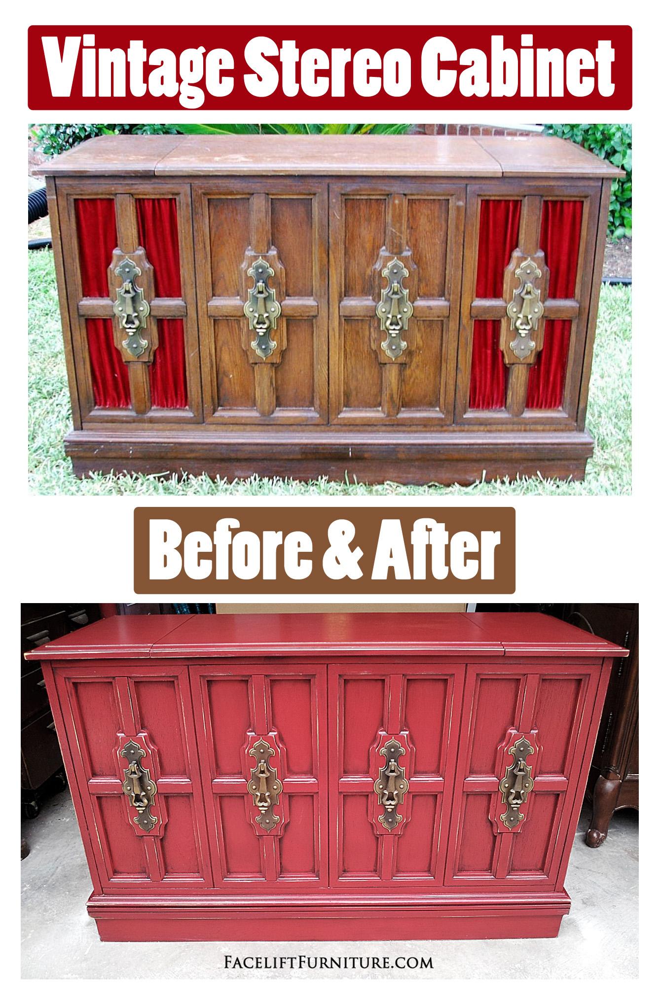 Vintage Stereo Cabinet ~ Before U0026 After. From Facelift Furnitureu0027s DIY ...