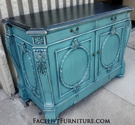 Ornate Sea Blue Buffet Black Glaze