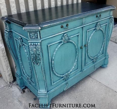 Ornate Sea Blue Buffet Black Glaze