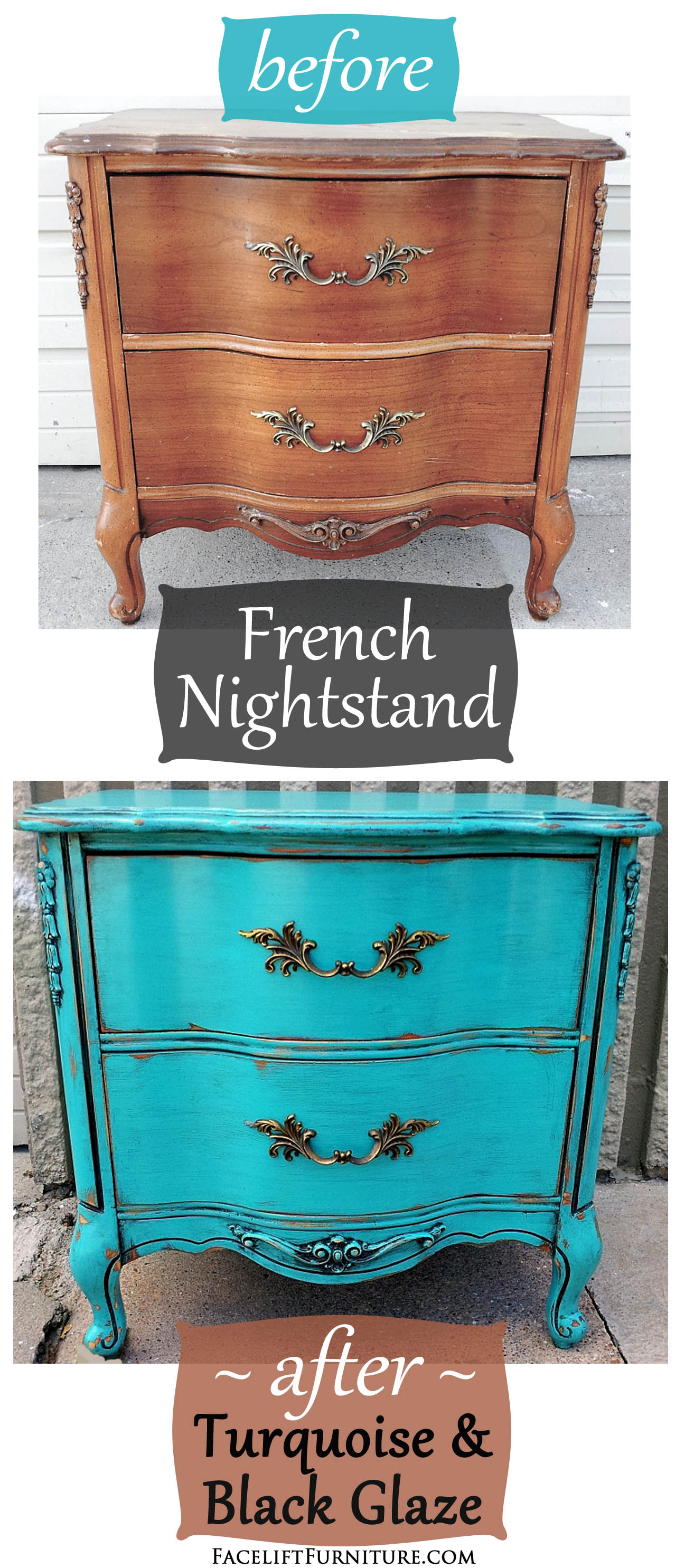 Turquoise French Nightstand Before After Facelift