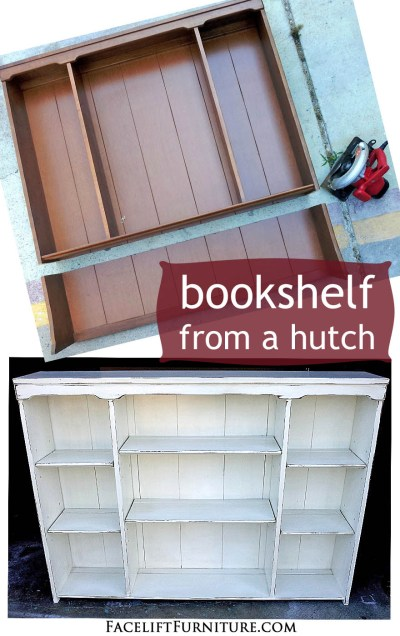 How a discarged maple hutch was repurposed into a bookshelf - Before & After from Facelift Furniture