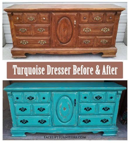 Turqouise Dresser Before & After - Facelift Furniture DIY Blog