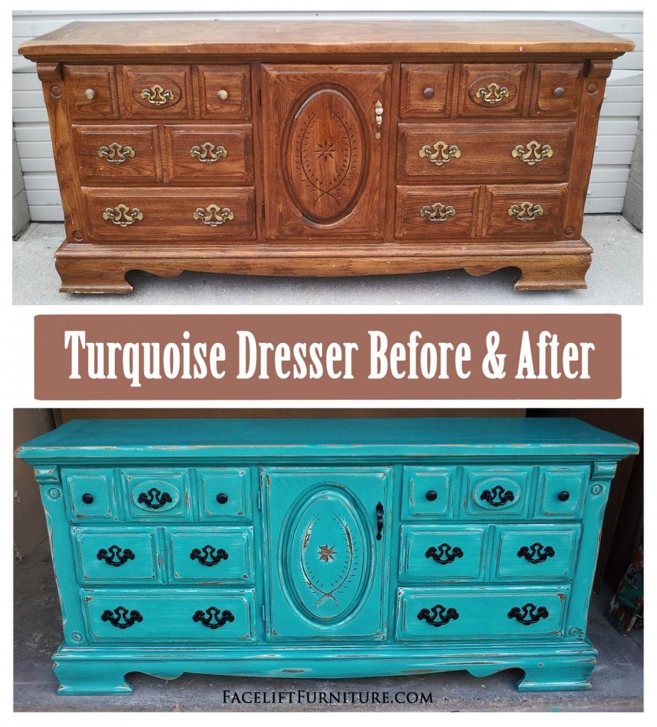 Turqouise Dresser Before U0026 After   Facelift Furniture DIY Blog