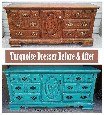 Turqouise Dresser Before & After - Facelift Furniture DIY Blog