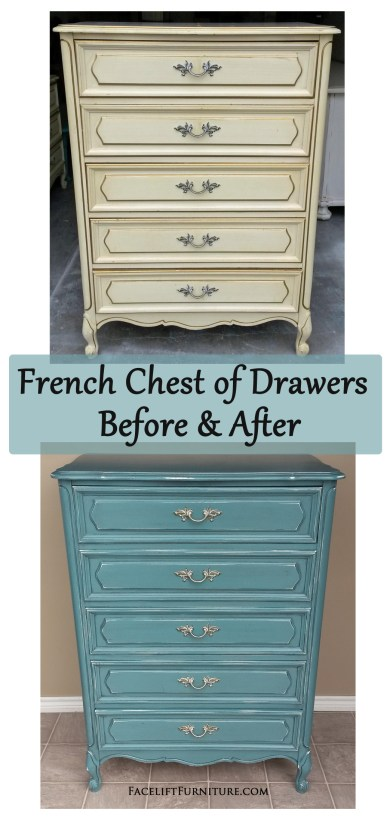 Sea Blue French Chest of Drawers ~ Before & After. From Facelift Furniture's DIY Blog.