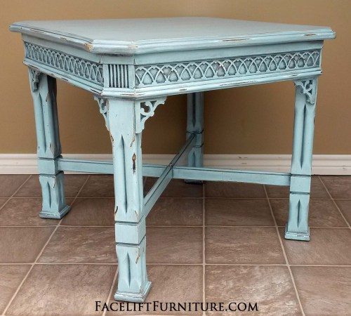 Ornate End Table in Robin's Egg Blue. Before & After, from Facelift Furniture's DIY Blog.