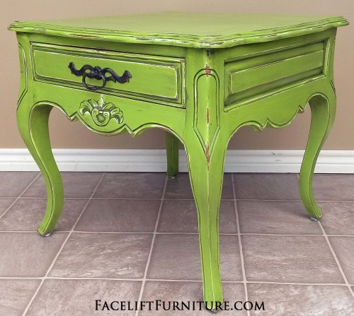 Ornate Lime Green End Table. Before & After, from Facelift Furniture's DIY Blog.