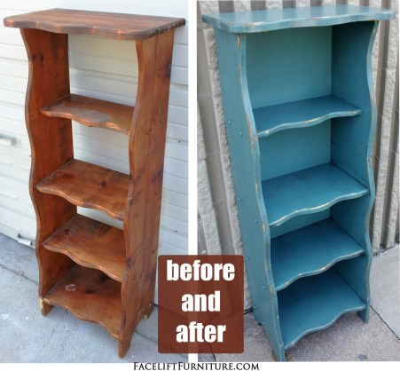 Sea Blue Bookshelf Before & After
