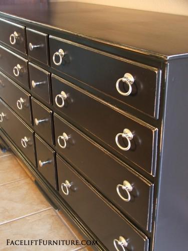 Distressed Black Twelve Drawer Maple Dresser.  Facelift Furniture DIY Blog