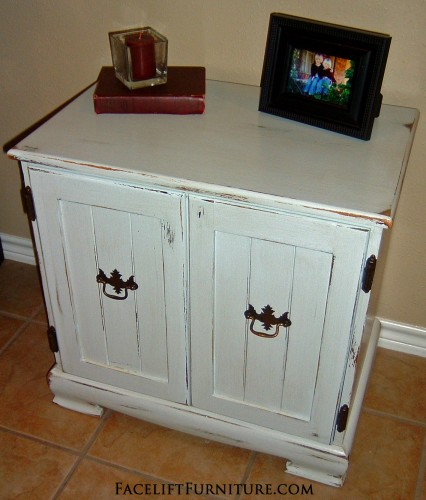 Pale Blue-Grey Nighstand.  From Facelift Furniture's DIY Blog.