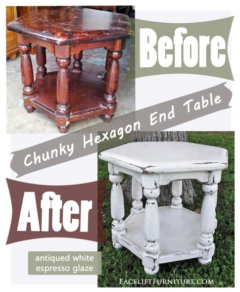 Antiqued White Chunky Hexagon End Table. Why I love refinishing hexagon end tables! Facelift Furniture DIY Blog.