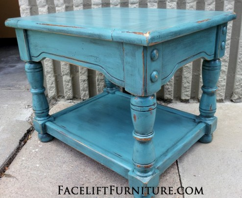 Chunky Sea Blue End Table