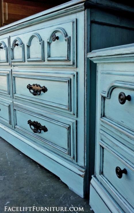 Robins Egg Blue Dresser & Nightstand. Facelift Furniture DIY Blog