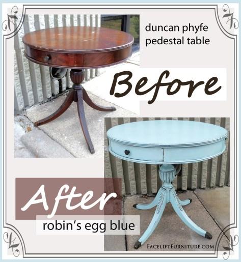 Robin's Egg Blue Pedestal Table ~ Before & After. Facelift Furniture DIY Blog.