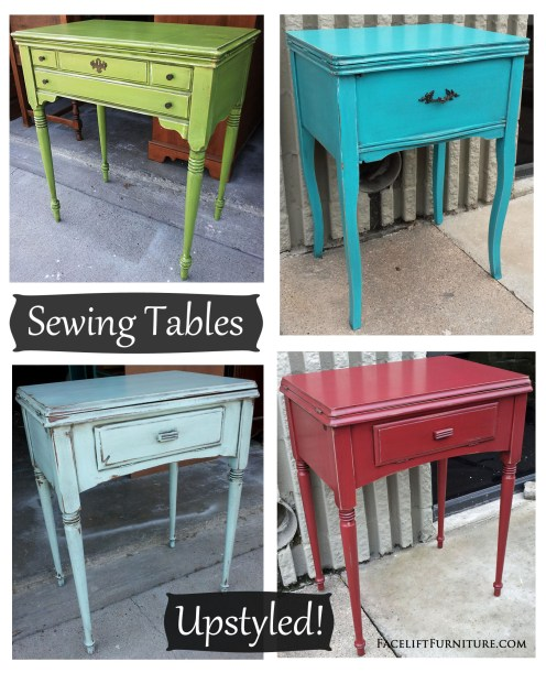 Upstyled Sewing Tables in Lime Green, Turquoise, Robin's Egg Blue, and Chili Pepper Red. Facelift Furniture DIY Blog.