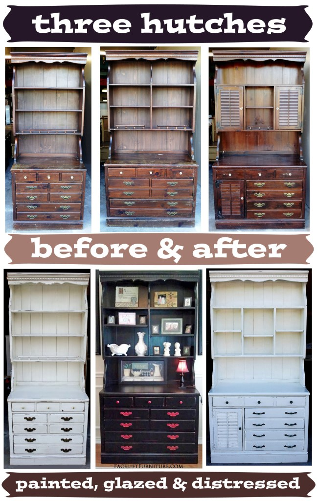 Three Hutches Painted, Glazed & Distressed - Before & After. Facelift Furniture DIY Blog