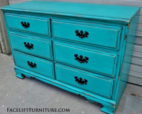 Distressed Turquoise Dresser with Black Vintage Pulls. Facelift Furniture DIY Blog