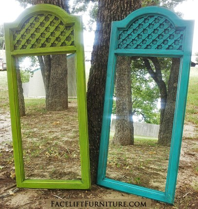 Matching Mirrors Turquoise & Lime Green