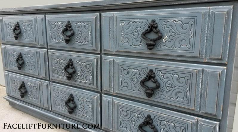 Ornate Dresser Slate Blue