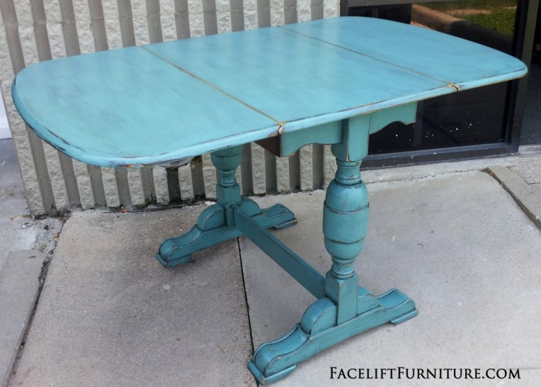 Sea Blue Chunky Drop Leaf Table FLF