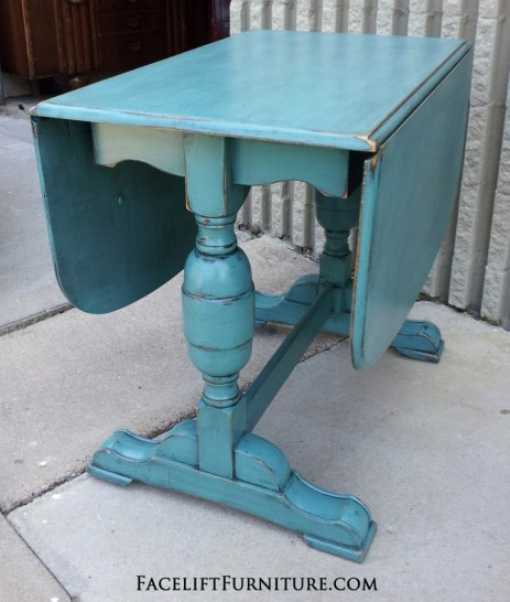 Sea Blue Chunky Drop Leaf Table
