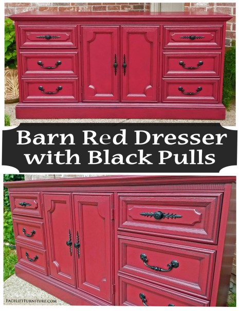 Barn Red Dresser Black Pulls