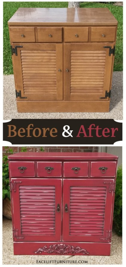 Barn Red Maple Cabinet - Before & After