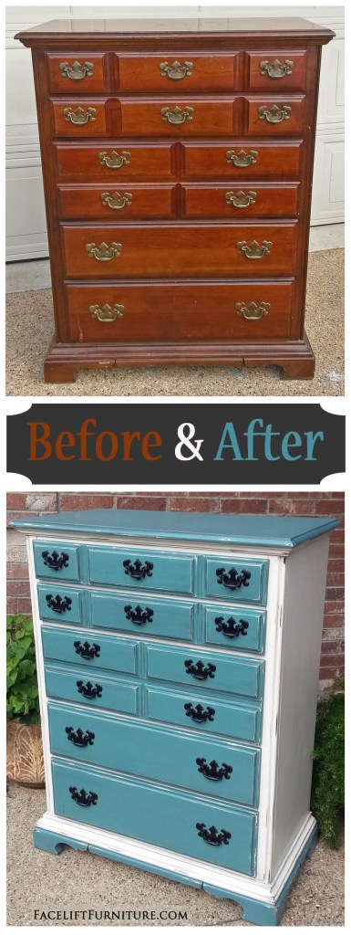 Maple Chest Sea Blue & Off White - Before & After