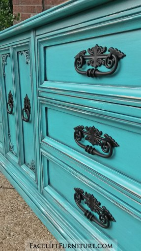 Turquoise Dresser Black Ornate Pulls Detail