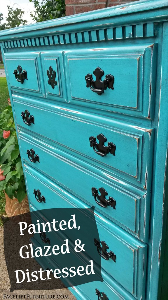 Turquoise Chest   Painted Glazed Distressed