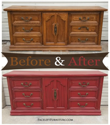 Barn Red Dresser - Before & After