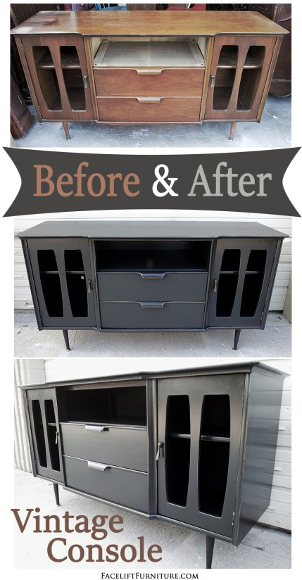 Vintage Mid-century Console in Black ~ Before and After. Facelift Furniture DIY Blog