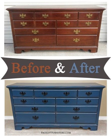 Dresser in distressed denim blue, with original pulls painted black - Before and After from Facelift Furniture