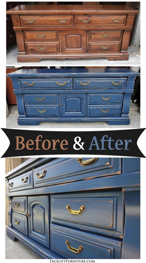 Distressed denim blue chunky dresser with black glaze. Before and after from Facelift Furniture DIY blog.