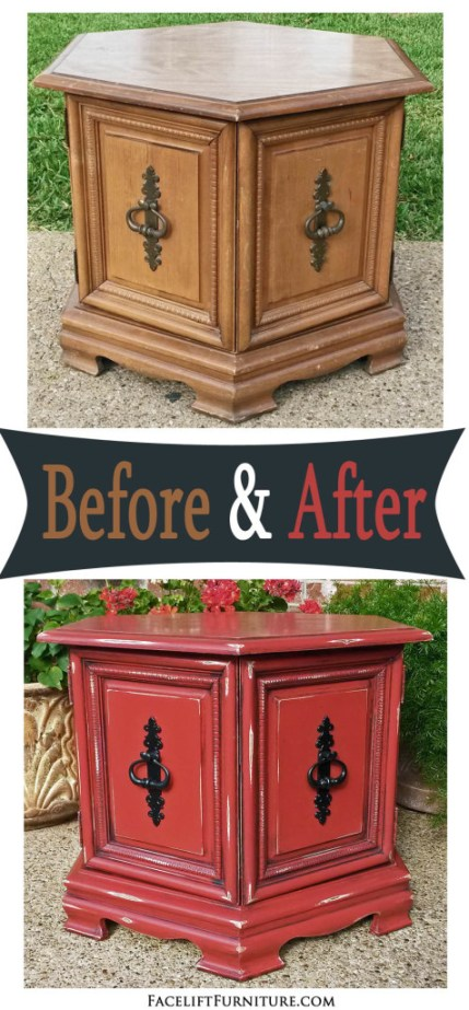 Hexagon End Table - Before & After